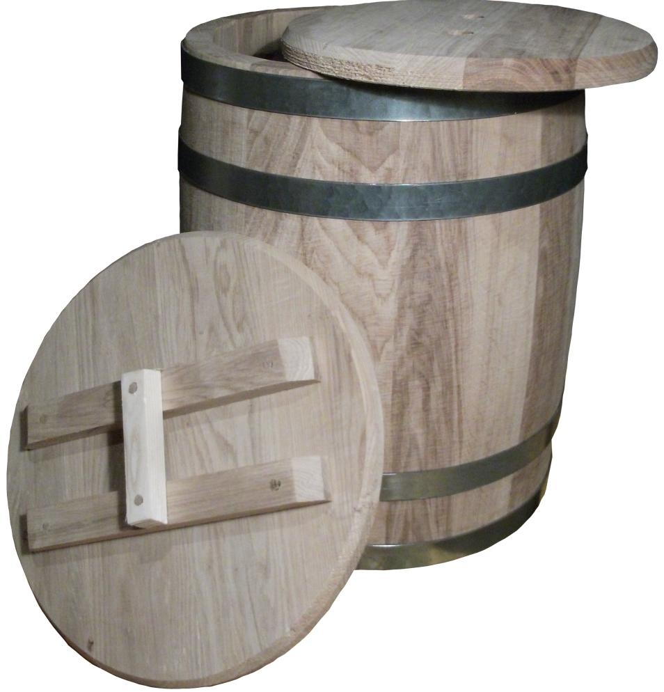 Изготовленная деревянная бочка с крышкой для бизнеса.