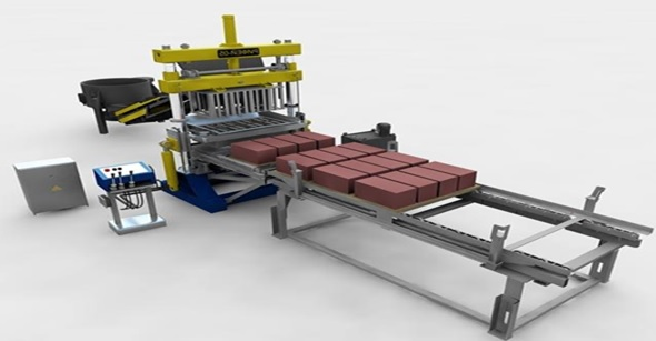 Внешний вид оборудования для изготовления шлакоблоков.