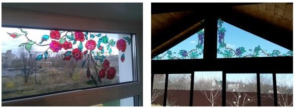 Готовая работа на витражных окнах.