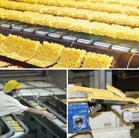 Производственный процесс создания лапши быстрого приготовления.