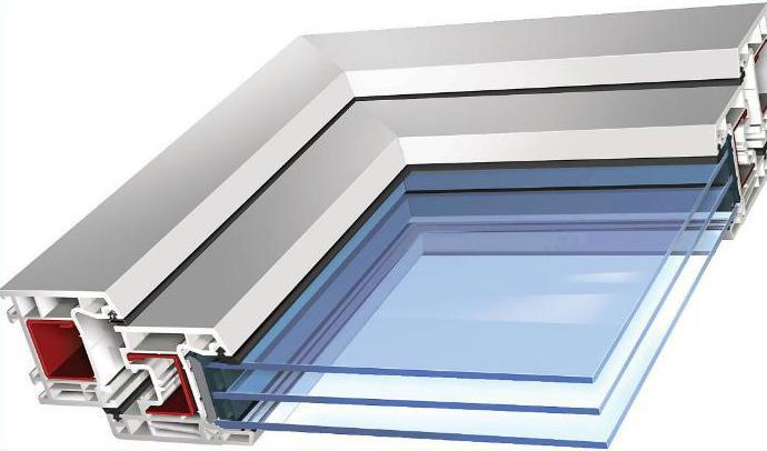 Схема окна в разрезе с двухкамерным стеклопакетом в пластиковой раме.