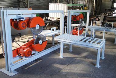 Резальный комплекс на мини-заводе по производству пеноблоков.
