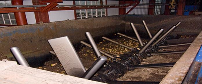Процесс очистки свеклы на оборудовании в цеху.