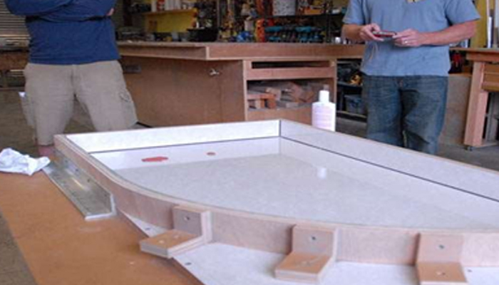Вариант процесса создания акриловой столешницы.
