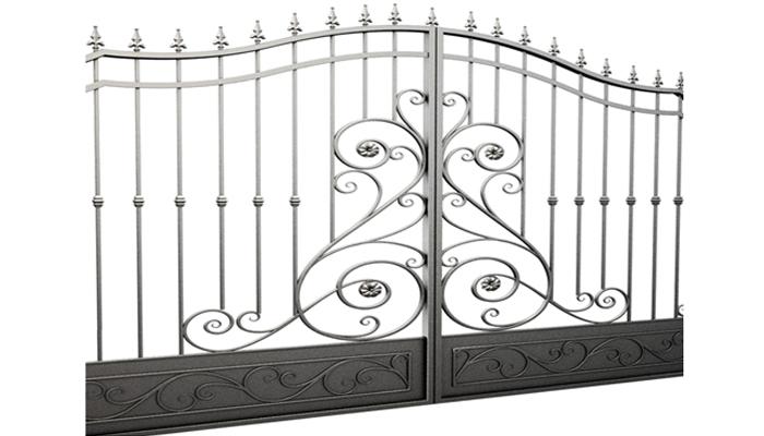 Внешний вид кованных из метала ворот.
