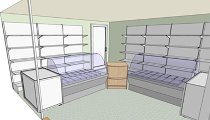 Модель помещения под магазин с продуктами и его оборудование.