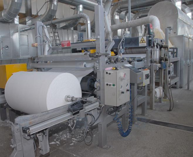 Оборудование на производстве для изготовления спанбонда.